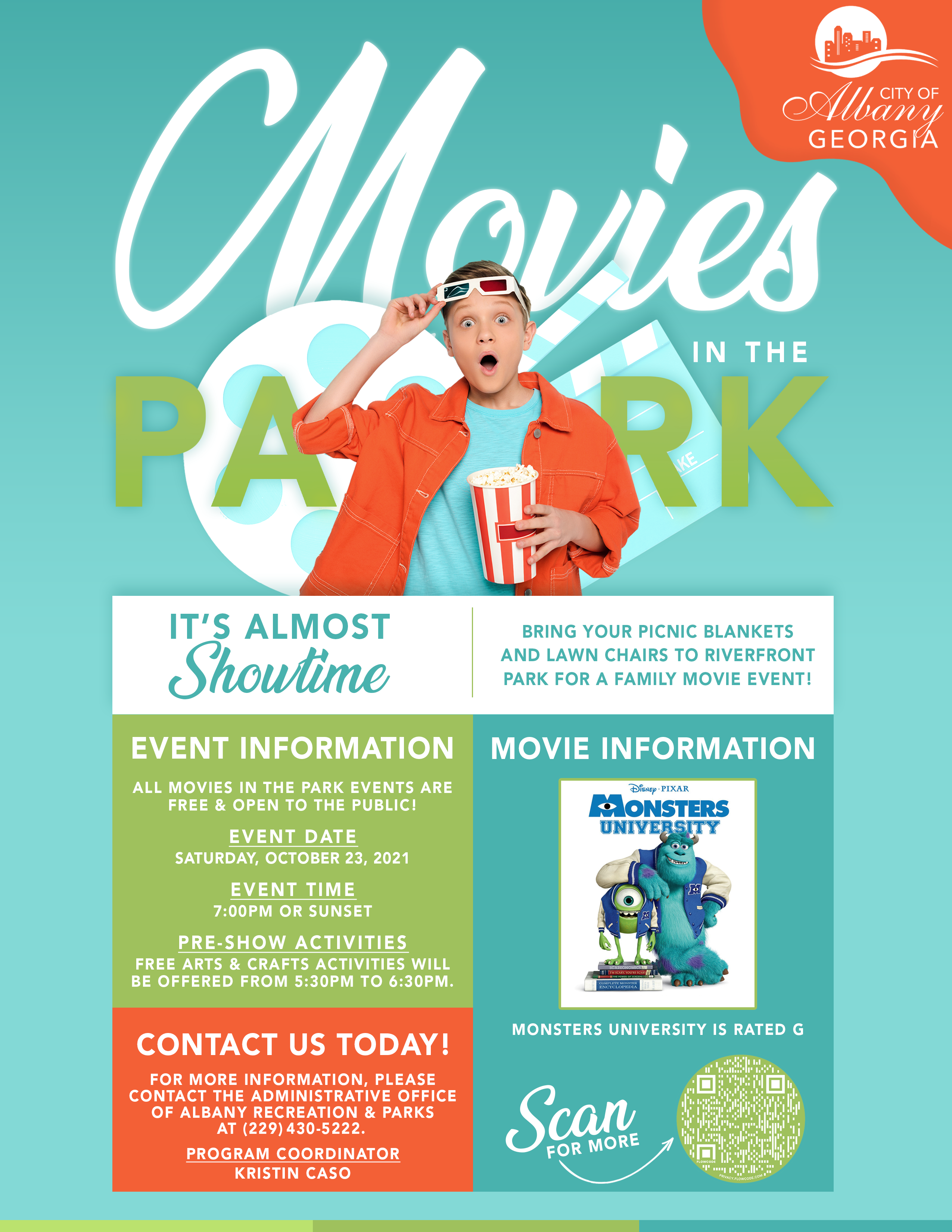 2021 Movies in the Park: Monsters University