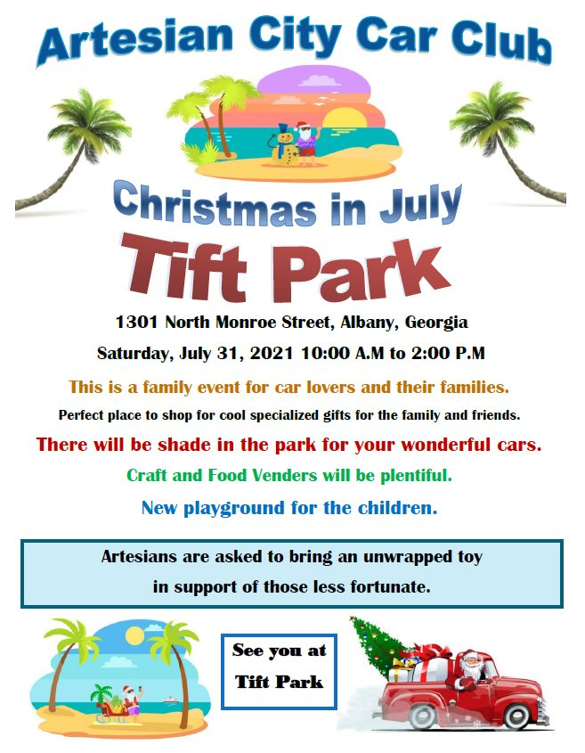 Artesian City Car Club Christmas in July