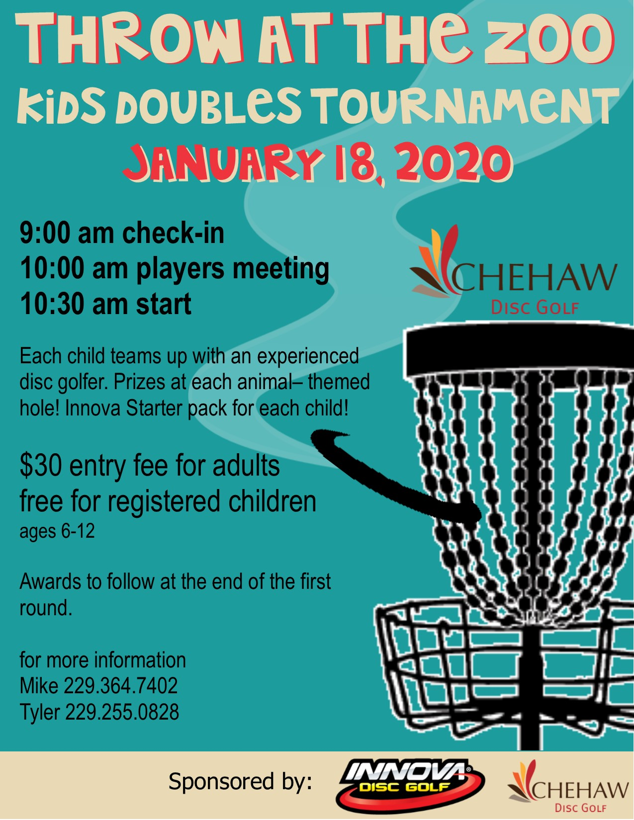 Jan 18- Throw at the Zoo Disc Golf Kids Tournament