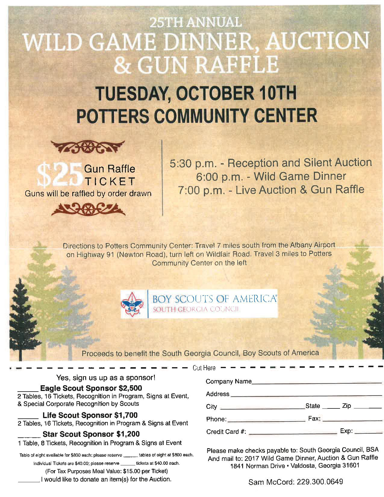 25th Annual Wild Game Dinner, Auction and Gun Raffle