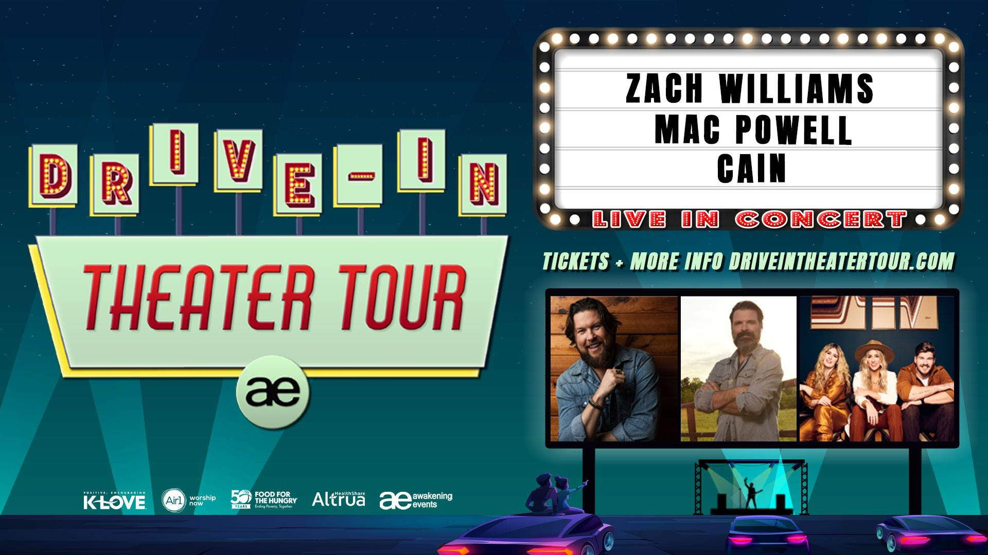 Drive-In Theater Tour with Zach Williams, Mac Powell & CAIN - Albany, GA